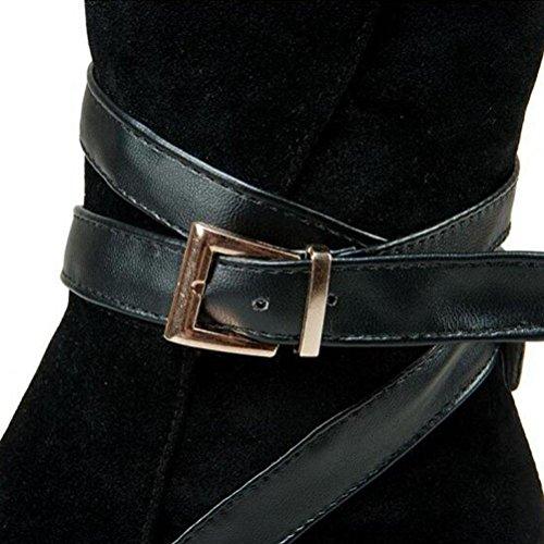 Grande À BLACK BOTXV Chaussures Rétro Talons Bottes Ceinture Martin 48 Bottes Boucle Mi Zipper 38 Femmes Courtes Côté Talon 40 Dames Taille Brillants De rBExwTAFrq