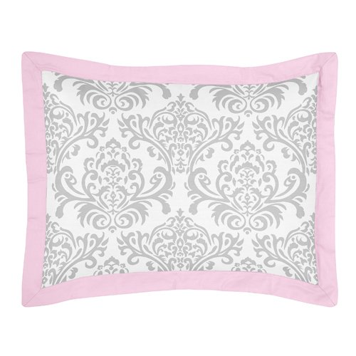 Pink and Gray Elizabeth Childrens and Kids Bedding 4 Piece Girls Twin Set