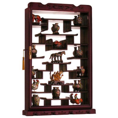 Rosewood Wall Curio Display Cabinet - Dark - Case Display Oriental