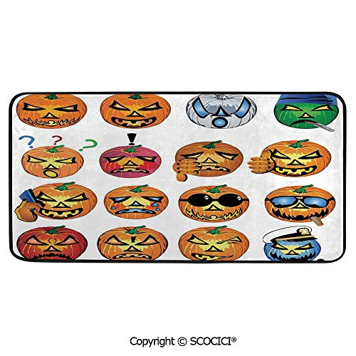 Rectangle Rugs for Bedside Fall Safety, Picnic, Art Project, Play Time, Crafts, Large Protective Mat, Thick Carpet,Halloween Decorations,Carved Pumpkin with Emoji Faces Halloween Humor,39