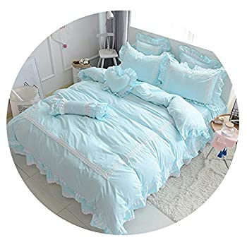 Image of Cotton White Blue Grey Bedding Sets for Girls Queen Twin King Size Duvet Cover Bed Sheet Bed Skirt Set Pillowcase,3,Full Size 4pcs Home and Kitchen
