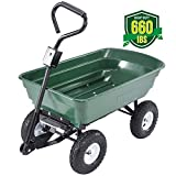 Heavy Duty Garden Dump Cart Dumper Wagon Carrier Utility Wheelbarrow Air Tires