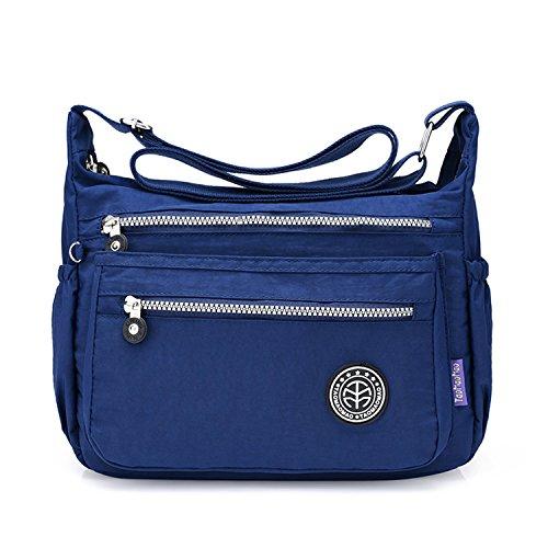 Outreo Bolsos Escuela Bolso Bandolera Ligero Bolsos de Mujer Impermeable Casual Moda Escolares Bolsas de Viaje Bolsas de Deporte para Sport Bag Azul 1