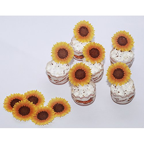 GEORLD Edible Sunflower Cake Topper Cupcake Decoration by Wafer Paper,36 Counts by GEORLD (Image #1)