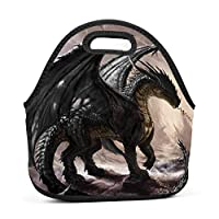 Dragon Insulated Neoprene Lunch Bag for Men Women and Kids - Reusable Soft Lunch Box for Work and School Water-Resistant 3D Printed