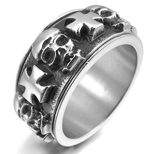 INBLUE Men's Stainless Steel Ring Silver Tone Black Celtic Medieval Cross Skull Moving Size10