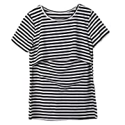Women Breastfeeding Shirt Striped Patchwork Short Sleeve Maternity Breastfeeding and Nursing Tops (L, Black)