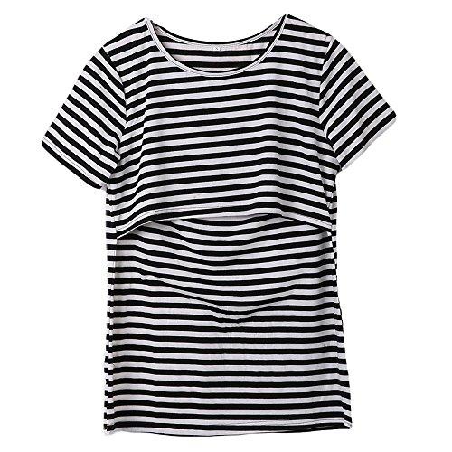 Women Breastfeeding Shirt Striped Patchwork Short Sleeve Maternity Breastfeeding and Nursing Tops (M, Black)