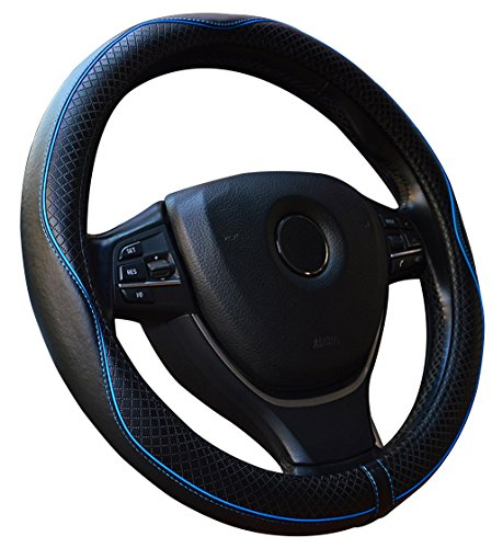Steering Set Wheel Cover (Leather Steering Wheel Cover - Universal 15 Inch Steering Wheel Cover For Car Truck Suv Fit is Nice and Snug (Black&Blue))