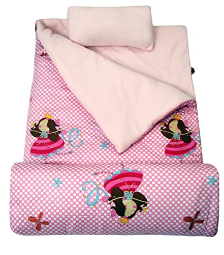 Wildkin Fairies Sleeping Bag - SoHo kids My Fairy Princess children sleeping slumber bag with pillow and carrying case lightweight foldable for sleep over
