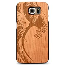 Laser Engraved Wood Case for Galaxy S6 Edge - Ocean Surf Wave (Cherry)