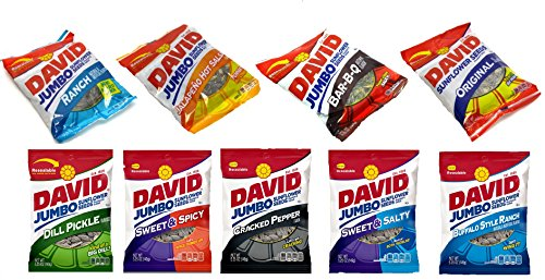 - David Sunflower Seeds Variety Pack, 9 Flavors (5.25oz Bags)