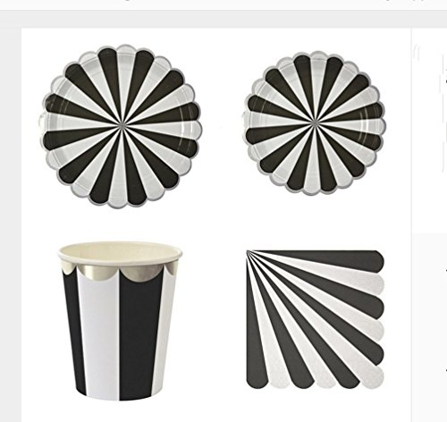 Colorful-Striped-Birthday-Party-Tableware-Pack-Set-for-16-Plates-Cups-Napkins-Utensils