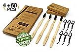 NEW - 4 Pack Bamboo Toothbrush + BONUS 60 Charcoal Floss Picks, Biodegradable, Soft Charcoal-Infused Nylon Bristles