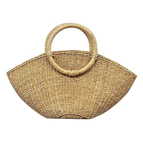 Bolsa playa redondo bolsa de círculo tejeduría playa fancylande Pure mano redondo bolsa bolsa luna Gran Mujer paja de portable de de Demi almacenamiento ratán rYq4r5