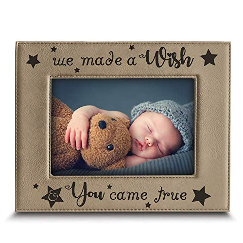 BELLA BUSTA- We Made a Wish & You Came True- Baby Picture Frame Baby Gift Engraved Leather Picture Frame (4 x 6 Horizontal)