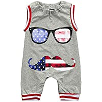 Sagton Baby Romper, US Flag Newborn Toddler Boys Glasses Jumpsuit Clothes Outfits