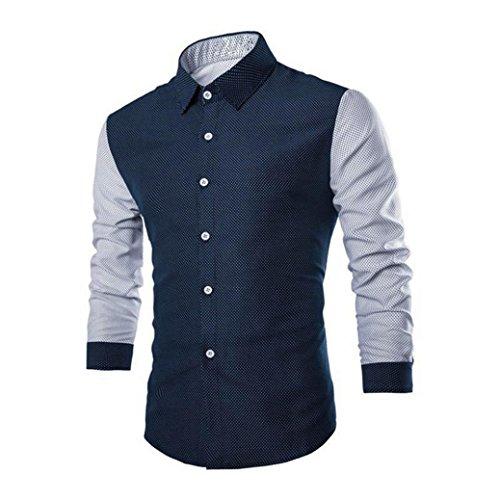 Kitesurfing Mens Hoodie - Charberry Fashion Mens Fashion Mosaic Wave Long-Sleeved Shirt Luxury Long Sleeve Shirt Casual Slim Fit Stylish Blouse Shirts Tops (US-L/CN-XL, Navy)