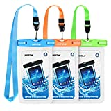 Mpow 024 Waterproof Case, Universal IPX8 Waterproof Phone Pouch Underwater Protective Dry Bag Compatible iPhone Xs Max/XS/XR/X/8/8P, Galaxy S9/S9P/, Google Pixel/HTC up to 6.5'' (Blue Orange Green)
