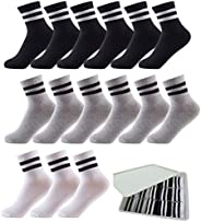 Oohmy Boys Socks 12 Packs Fit for 2-12 Years Old Boys and Girls Cotton Athletic Ankle Socks for Toddler Kids a