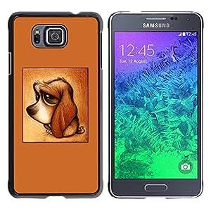 Perrito lindo del perro del Dachshund de Brown triste- Metal de aluminio y de plástico duro Caja del teléfono - Negro - Samsung ALPHA G850