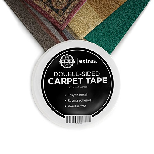 Strongest Double Sided Carpet Tape - Heavy Duty Rug Gripper Tapes for Mats, Rugs, Carpets and Runners. Secure, Non Slip, Extreme Strength, Two Sided, Sticky Tape [2 Inches x 75 Feet] (Tiles Garage Tread Floor)