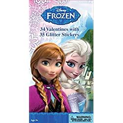 Paper Magic 34CT Deluxe - Glitter Stickers Frozen Kids Classroom Valentine Exchange Cards