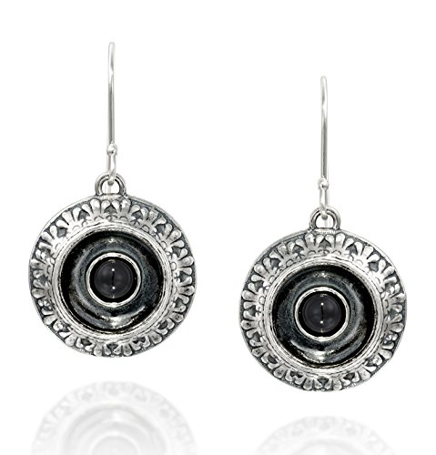 Antique Style Ornate Unique Design Round Black Onyx Dangle Earrings 925 Sterling Silver Women's Jewelry