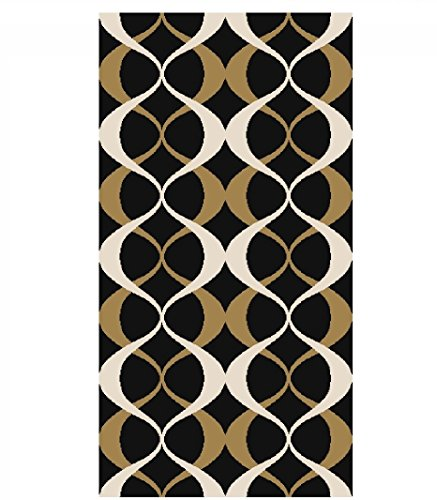 Gold Rectangular Rug - ADGO Collection Contemporary Moroccan Mediterranean Trellis Lattice Design Rubber-Backed Non-Slip Non-Skid Area Rugs, Black and Gold, 20