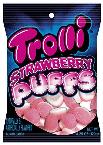 Trolli Strawberry Puffs Gummy Candy, 4.25 Ounce Bag, Pack of 12