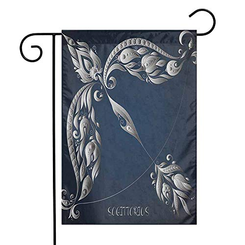 duommhome Zodiac Sagittarius Garden Flag Hand Drawn Bow Arrow Motif with Leaves Flowers Astrology Sign Decorative Flags for Garden Yard Lawn W12 x L18 Dark Blue and - Pillow University Bow