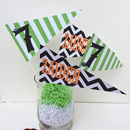 4 - Pennant Flag Centerpieces - How To Train Your Dragon Inspired Happy Birthday Collection - Lime Stripes, Black Chevron & Orange, Black and White Accents - Party Packs Available (Train Pennant)