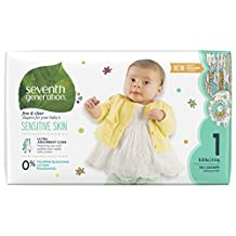 Seventh Generation Free and Clear, Unbleached Baby Diapers, Size 1, 40ct (Packaging may vary)