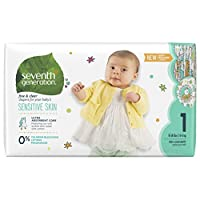 Seventh Generation Baby Diapers, Free and Clear for Sensitive Skin, with Anim...