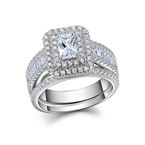 Newshe 1.8ct Radiant White Cz 925 Sterling Silver Wedding Engagement Ring Set Bridal Size 7