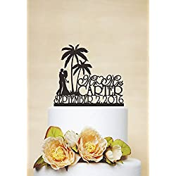 Mr & Mrs Wedding Cake Topper With Last Name,Beach Cake Topper,Palm Tree Topper,Wedding Date Topper,Personalized Wedding Cake Toppers Bride And Groom