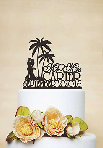 Mr Mrs Wedding Cake Topper With Last Name Beach Cake Topper Palm