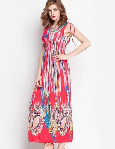PU&PU Robe Aux femmes Gaine Street Chic,Imprimé Col en V Maxi Coton / Polyester , orange-s , orange-s