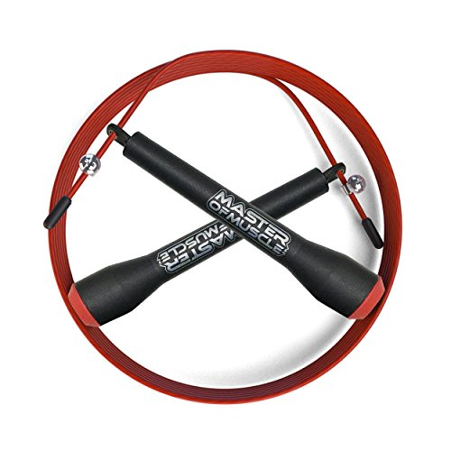 Jump Rope - 10ft Lightweight Speed Cable - Ballbearing Turn - Ideal to Master Double Unders - Cross Fitness Training, WOD's, Boxing, MMA, Exercise and Fitness - FREE Ebook