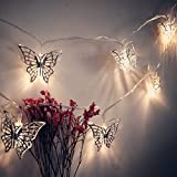 fantastic me 10ft 20 LED Iron Butterfly Fairy String Lights Night Lamp-Battery Powered-Decoration for Home Bedroom Kids Nursery Room Christmas Tree Wedding Party Garden