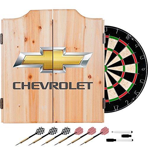 Chevrolet Logo Design Deluxe Wood Cabinet Complete Dart Set by TMG
