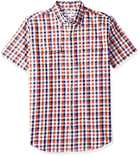 Amazon Essentials Men's Regular-Fit Short-Sleeve Two-Pocket Twill Shirt, Navy/red Check, XX-Large