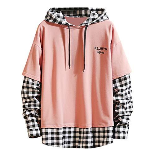 Lakes Park Halloween Train 2019 (FEDULK Men's Hooded Sweatshirt Plaid Patchwork Long Sleeve Hoodies Pullover Coat S-4XL(Pink,)