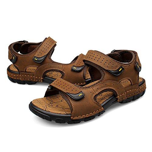Xing Lin Sandalias De Verano Los Hombres Sandalias _ Verano Nuevo Sandalias De Cuero Sandalias Planas Casual De Hombres De Gran Tamaño Khaki