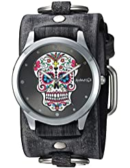 Nemesis Womens FRB925K Punk Rock Collection Sugar Skull Watch with Leather Cuff Band