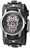Nemesis Women's FRB925K Punk Rock Collection Sugar Skull Watch with Leather Cuff Band