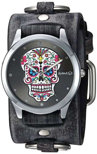 Nemesis Women's FRB925K Punk Rock Collection Sugar Skull Watch with Leather Cuff ()