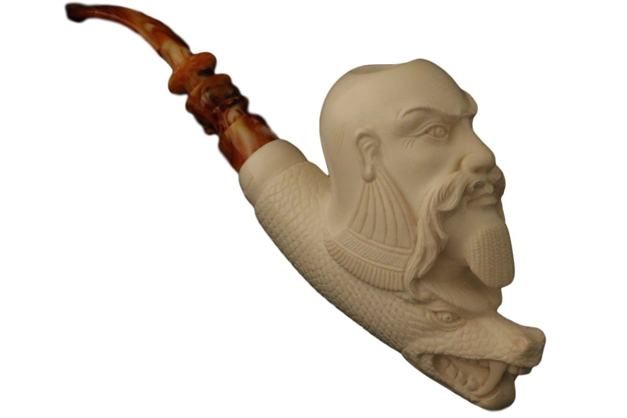 Meerschaum Pipe - Chinese Wise and Dragon from Master Carver I. Baglan - Tobacco Smoking Pipe Hand Made from the Finest Block Meerschaum - New