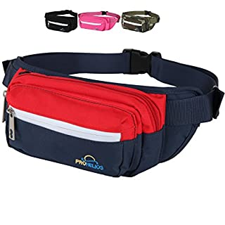 Best Fanny Pack 2019 - Fanny Pack for Men Women Waterproof Waist Bag for Outdoor Activity Traveling Hiking Biking Running Belt Pack for iPhone and Samsung with zippered pockets (Navy Blue)
