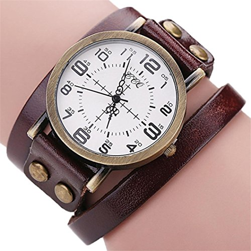 (AMA(TM) Men Women Vintage Cow Leather Wristwatch Dress Quartz Bracelet Watch Gifts (Brown))